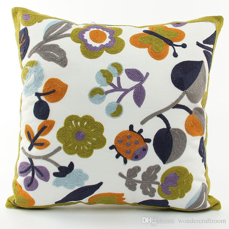 Korean Pastoral Style Embroidery Cushion Cover Plant Leaves Flowers Butterfly Ladybug Embroidered Cushion Covers Decorative Sofa Pillow Case