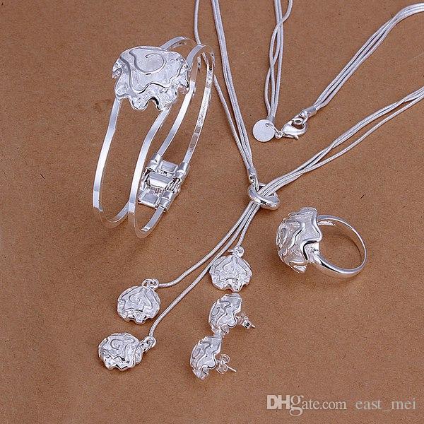 Hochzeitsrosen Sterling Silber Überzogene Schmuckset für Frauen ES323, Mode 925 Silber Halskette Armband Ohrring Ring Set