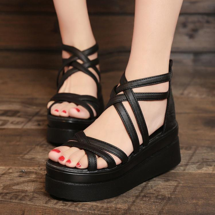 fb36fc37123 Women New Fashion Korean Style Black Sandals Platform Heel Breathable Shoes  Good For Summer And Girls Jack Rogers Sandals White Wedges From ...