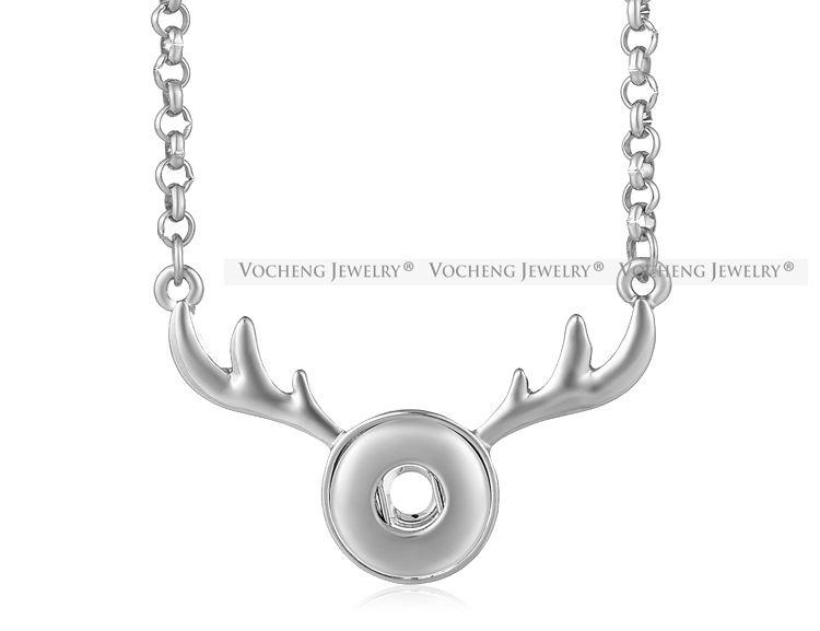 Ginger Snap Charms collana di gioielli Piccolo 12 mm con bottone renna gioielli intercambiabili con catena in acciaio inox NN-596