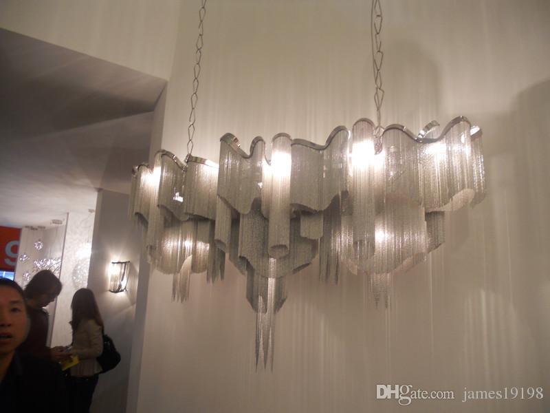 Designer nappa della catena lampadario moderno pendente di alluminio della lampada della luce di soffitto Nuovo il Living Rool Dinning Room hotel Home Decor PA0020