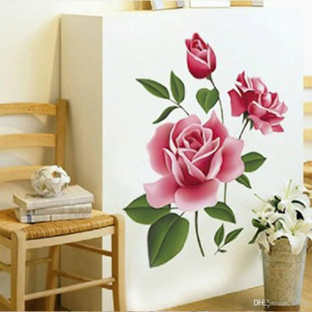 Pvc 3d rose flower romantic love wall sticker removable decal home pvc 3d rose flower romantic love wall sticker removable decal home decor living room bed decals mothers day gift bedroom decals bedroom decals for adults amipublicfo Choice Image