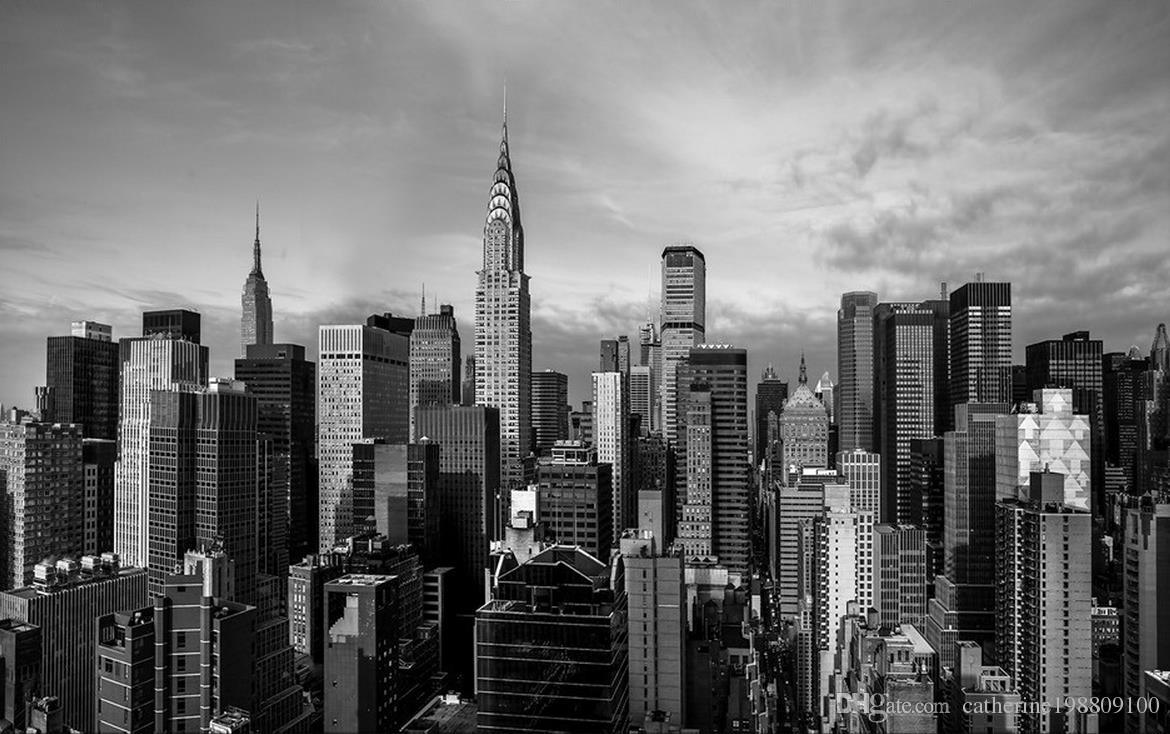 3d murals wallpaper for living room Black and white New York panorama architectural photography background wall