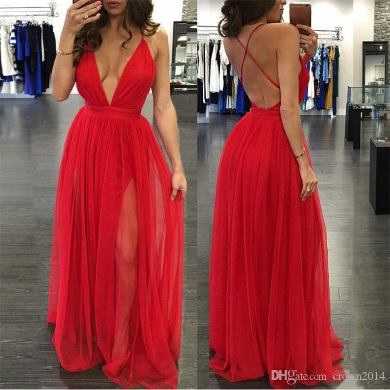 Plunging V Neck Backless Prom Dress All Red Tulle Floor Length Spaghetti Straps Beach Fashion Cross Bohemian Long Evening Dress For Women