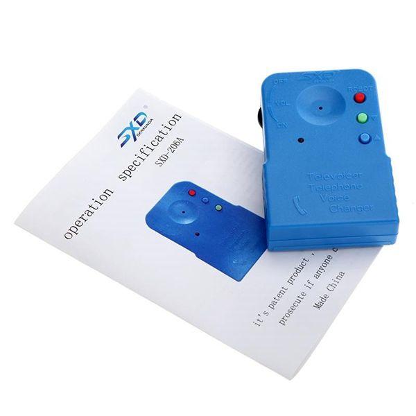 MINI Handheld Voice Changer Tragbares Mobiltelefon Schnurloses Fun Voice Disguiser Telefon Voice Changer Gadgets Blau mit Kleinkasten