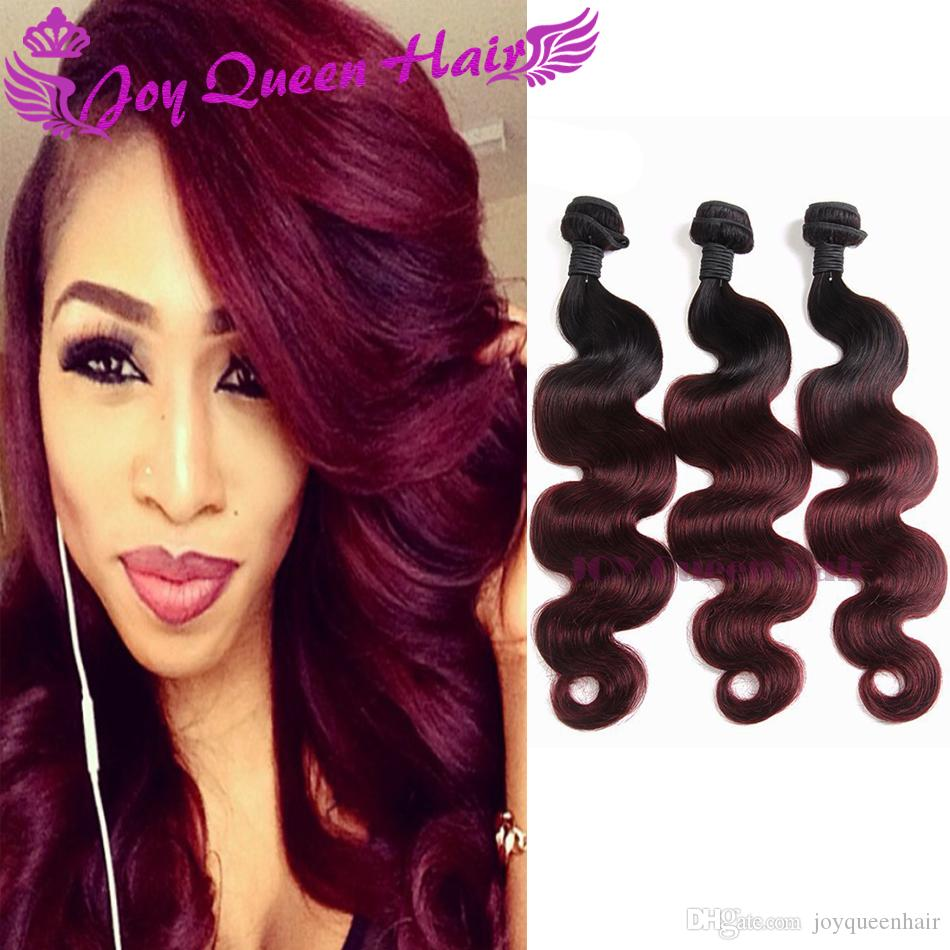 Ombre Weave Hair Bundle Two Tone Color 1b99j Burgundy Wine Red