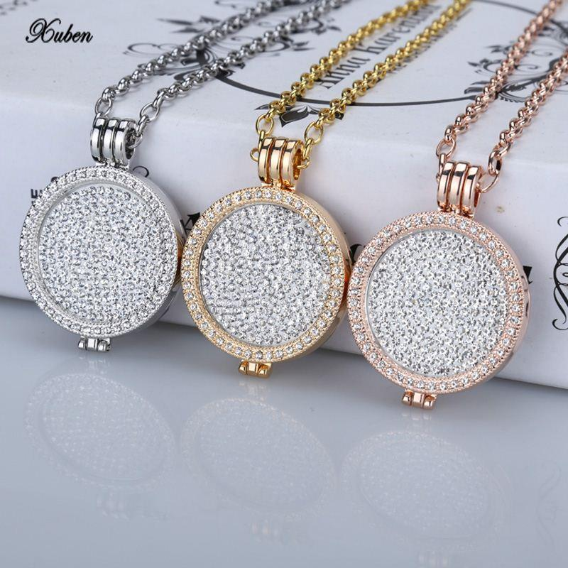 Wholesale new 35mm coin holder necklace pendant fit my 33mm coins wholesale new 35mm coin holder necklace pendant fit my 33mm coins white crystal christmas woman gift fashion jewelry locket long chain rose gold necklace aloadofball Gallery