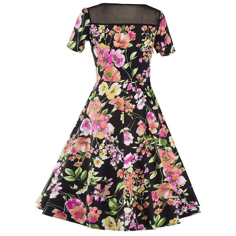 Women's Summer Short Sleeve See Through Mesh Slim Floral Prints Casual Eleagnt Garden Tea Party Evening Sexy Swing Dress