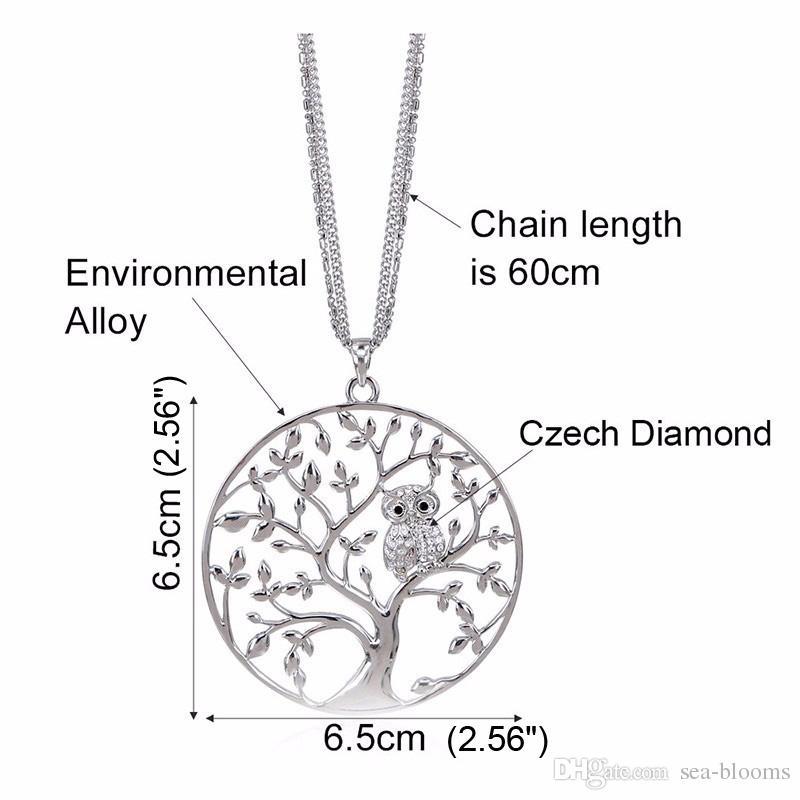 Collana con pendente piccolo gufo Albero della vita Donna Oro rosa Catena color argento con gemme lunghe pendenti con gemme e pendenti D369L