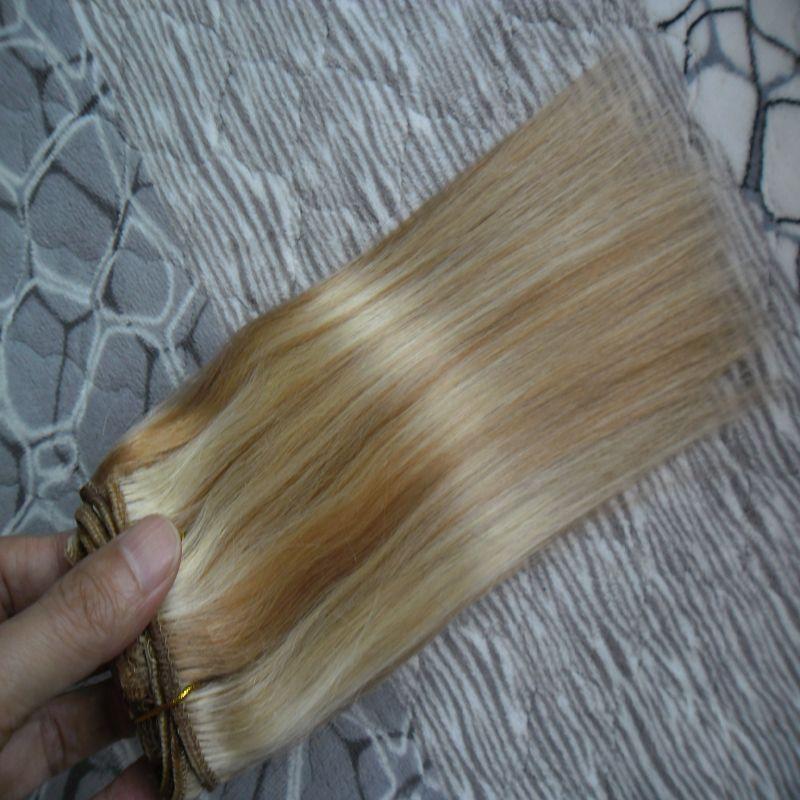 Pelo virgen de Malasia Recto 27/613 Paquetes de armadura de cabello virgen rubio 100 g Extensiones de cabello humano trama doble