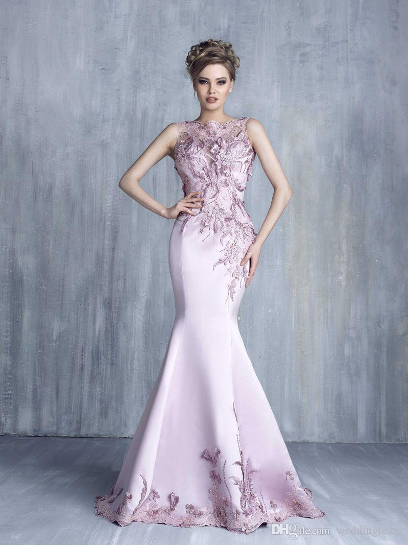 Graceful Pink Mermaid Evening Dresses Bateau Neck Sleeveless Appliques Beads Sequins Evening Wear Sweep Train Organza Trumpet Long Prom Gown