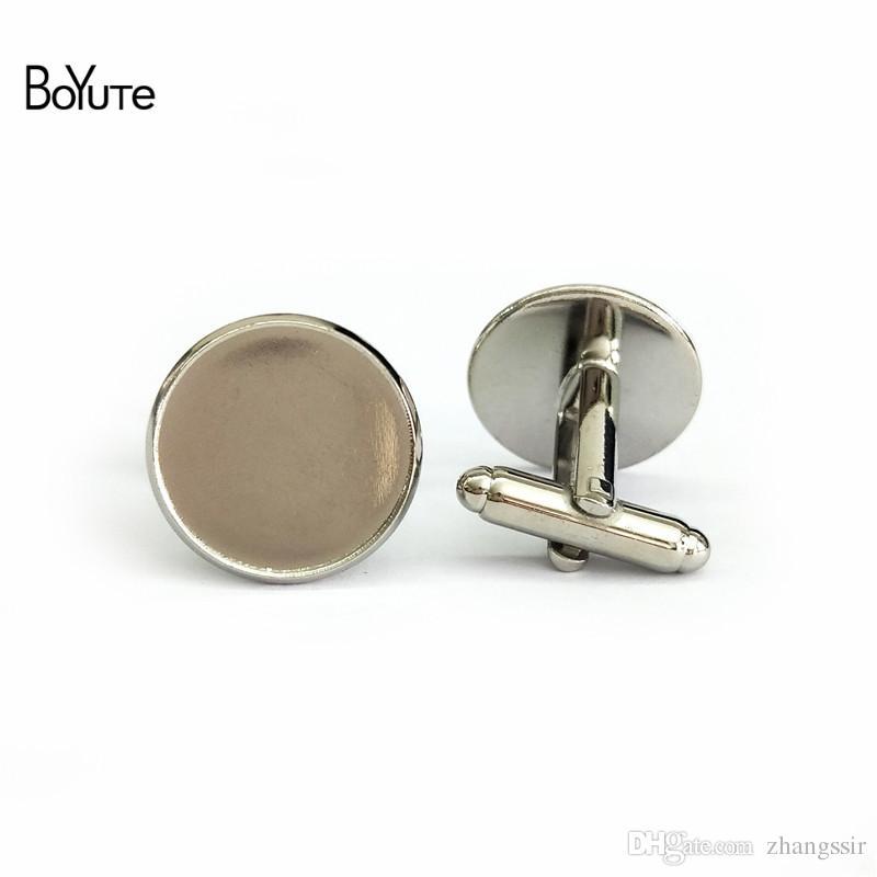 20Pcs Fashion Men Silver 12mm Flat Round Blank Settings Cuff Link Cufflinks