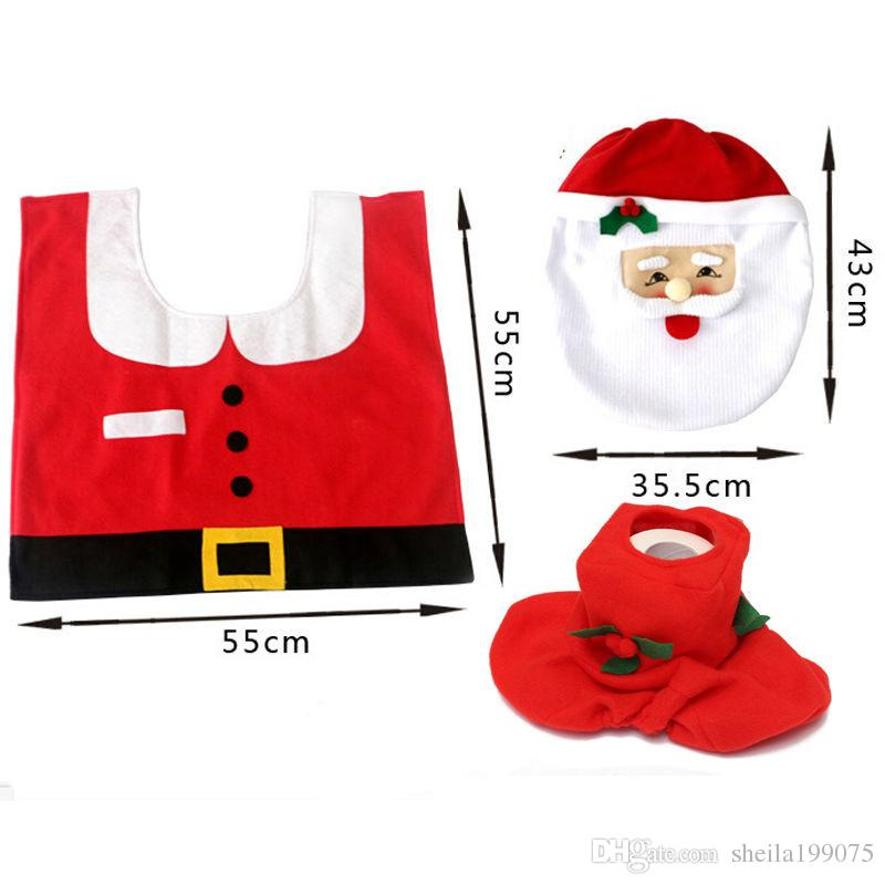 2017 Christmas Hot Sale Best Happy Santa Toilet Seat Cover & Rug Bathroom Set Christmas