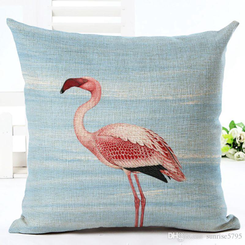 nature flamingo cushion cover printed 45cm sofa throw pillow case polyester linen almofada tropical decoration cojines