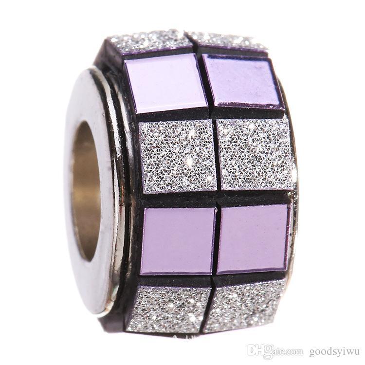 5 MM de prata tibetana artesanal grande buraco solta pérolas cubo tarja encantos europeus contas de cristal jóias XZ98