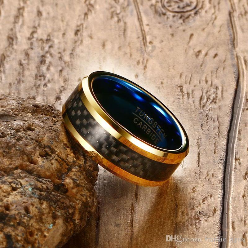 Tungsten Carbide Jewlery Men's Wedding Band Engagement Ring IP Gold & Blue Plated With Black Carbon Fiber Inaly 8MM