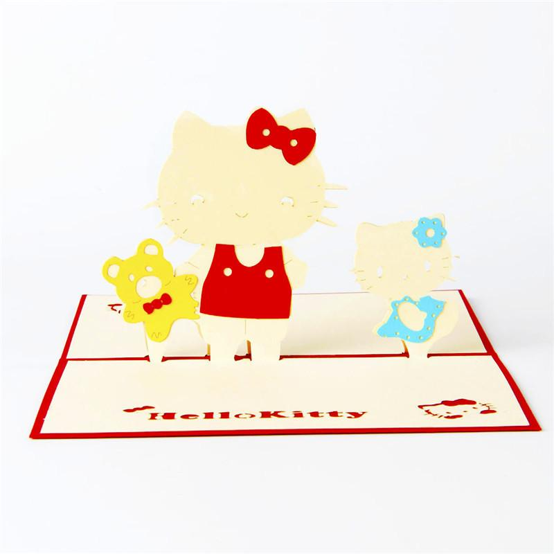Laser Cut Invitations Hello Kitty 3D Pop UP Card Kids Birthday GreetingGift Cards Christmas Greeting From Okbrand