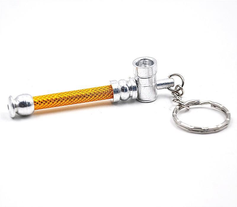 Toppuff grossist alluminium mini rökning pipe keychain ultra-liten bärbar förångare shisha mun tips rör rengöringsmedel