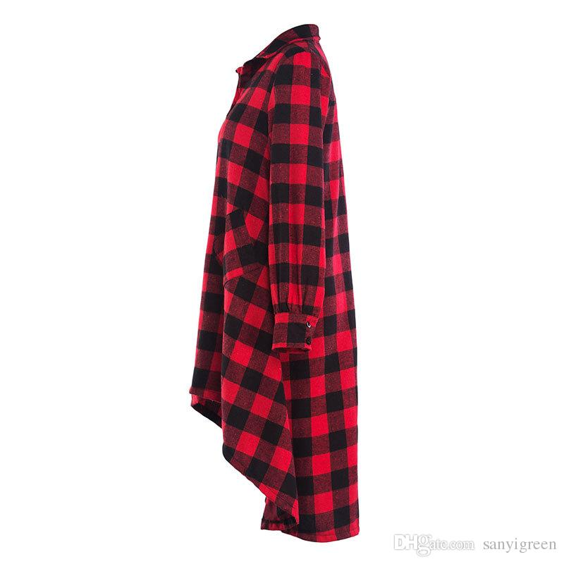 Осень длинная клетчатая рубашка Платье с длинным рукавом женщины отложным воротником случайные нерегулярные платья для зимы свободные платья плюс размер