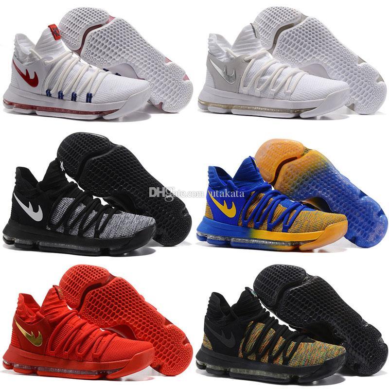 Low Cut Men Spring and Fall Zoom KD 10 Basketball Shoes Men Men\u0027s Homme  Blue Tennis