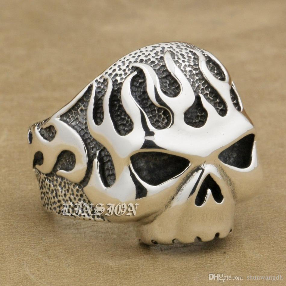 LINSION Huge Heavy 925 Sterling Silver Fire Skull Mens Biker Rocker Punk Ring 8D006 US Size 7 ~ 15