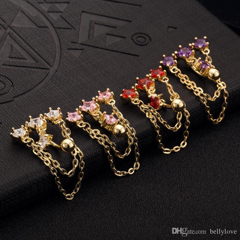 Occident Style 18 K Plaqué Or Chaînes Étoiles Chaînes Bijoux De Corps De Mode Piercing Nombril Anneau Du Ventre Bouton Anniversaire Cadeau de Fête pour les Femmes