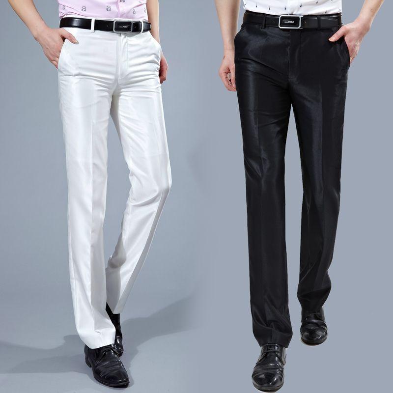 451fd8e8b2ed6e Compre Al Por Mayor Pantalones De Traje De Los Hombres 2017 Slim Fit  Pantalones De Vestir Para Hombre Traje De La Arruga Libre De La Moda  Coreana Pantalones ...