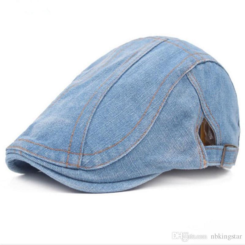 Neue Mode Sommer Denim Berets Cap für Männer Frauen Washed Denim Hut Unisex Jeans Hüte 6 teile / los