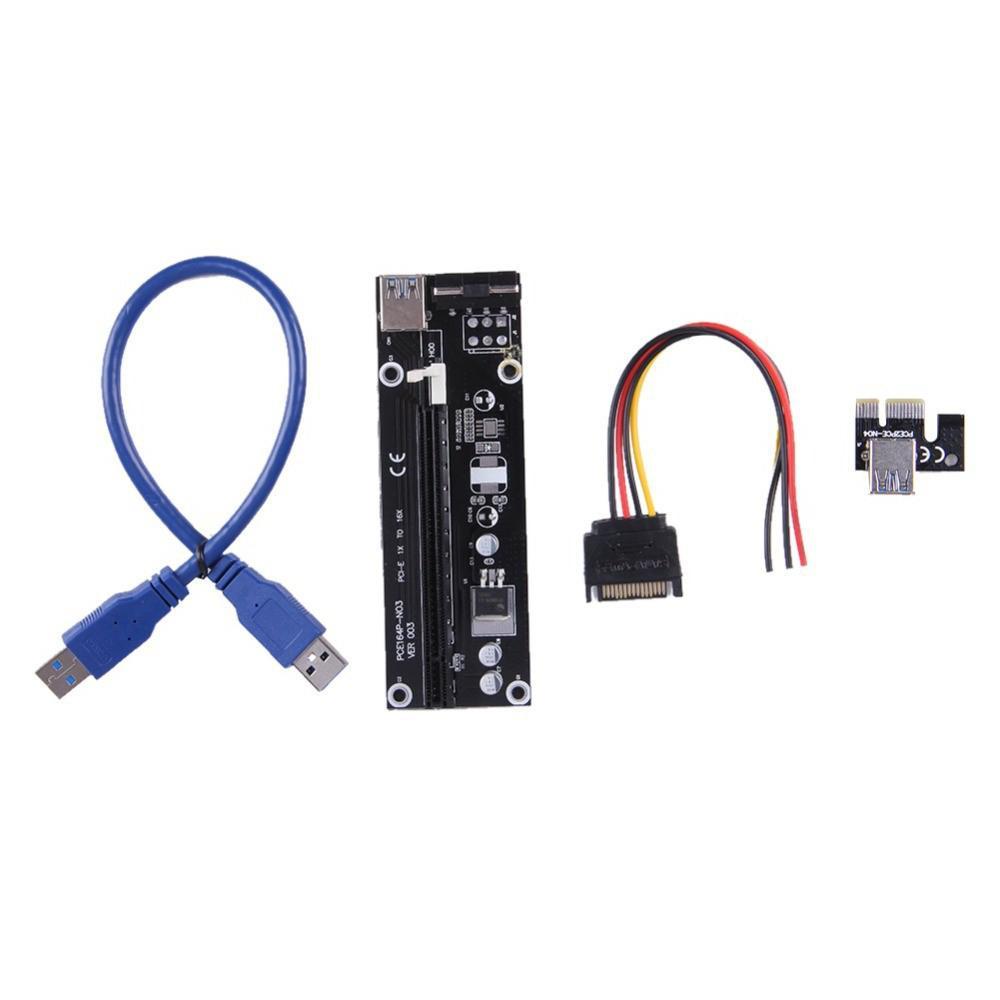 Nyaste funktionen 1x till 16x PCI-E PCI E Express Riser Extender Adapter-kort med 60cm USB 3.0 Kabelkraft för Bitcoin
