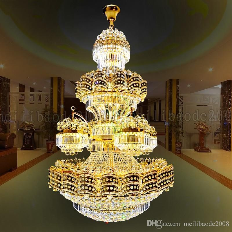 BE46 Luxury European Crystal Chandeliers Villa Living Room Lights Hotel Lobby Duplex Staircase Club Project Gold Pendant Lamps Lights