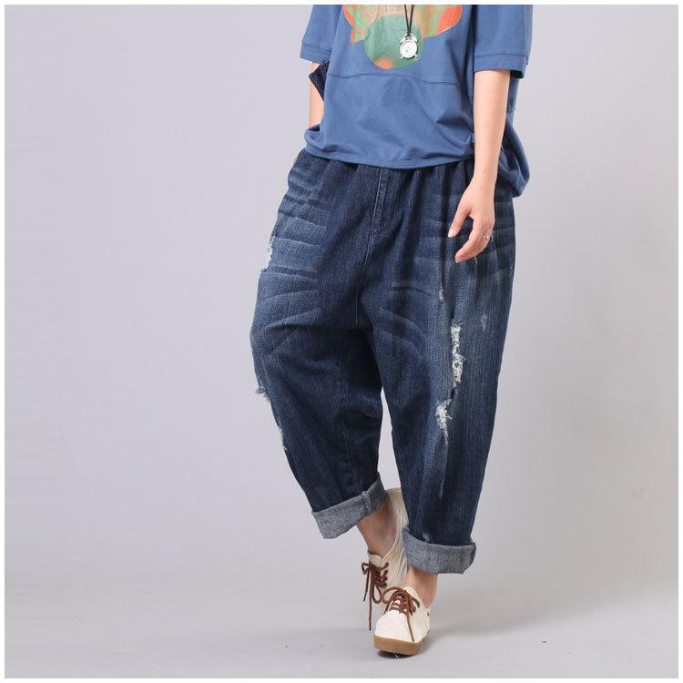 16a01734cdbd9 2019 Wholesale Women Plus Size Elastic Waist Scratched Bleached Denim Harem  Pants Ladies Loose Jeans Hole Ripped Big Size Denim Trousers 2017 From  Avive