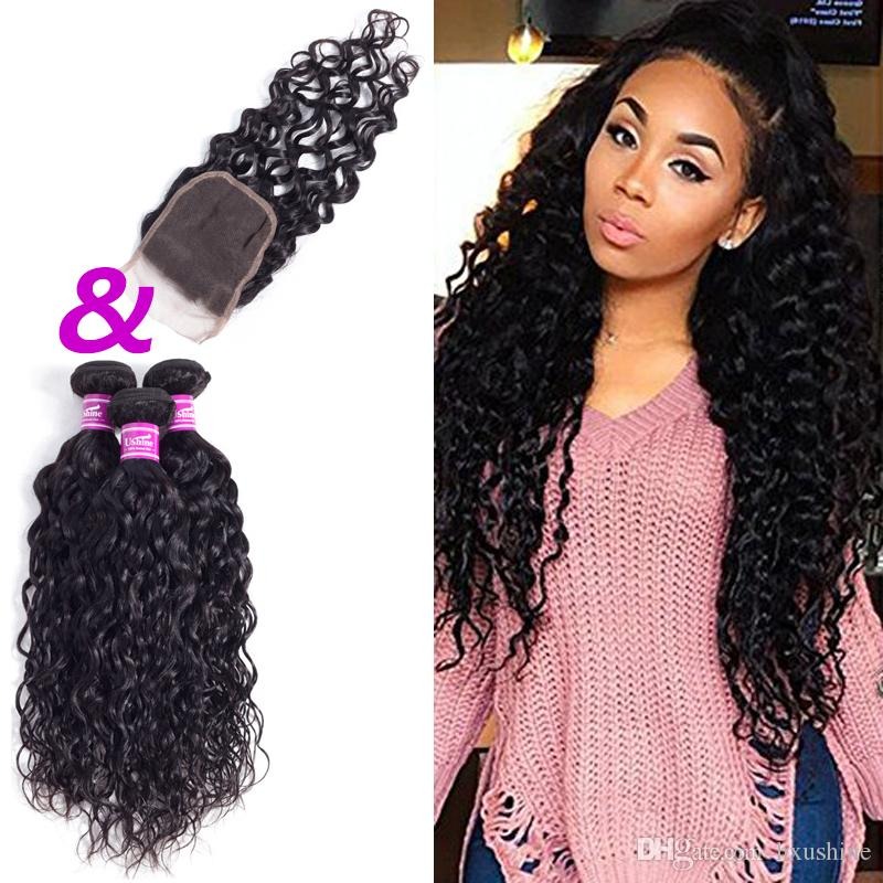 Cheap ushine indian malaysian water wave human hair bundles with cheap ushine indian malaysian water wave human hair bundles with closure natural color 3 5 bundles 100 unprocessed can be colored best hair for weaves best pmusecretfo Gallery