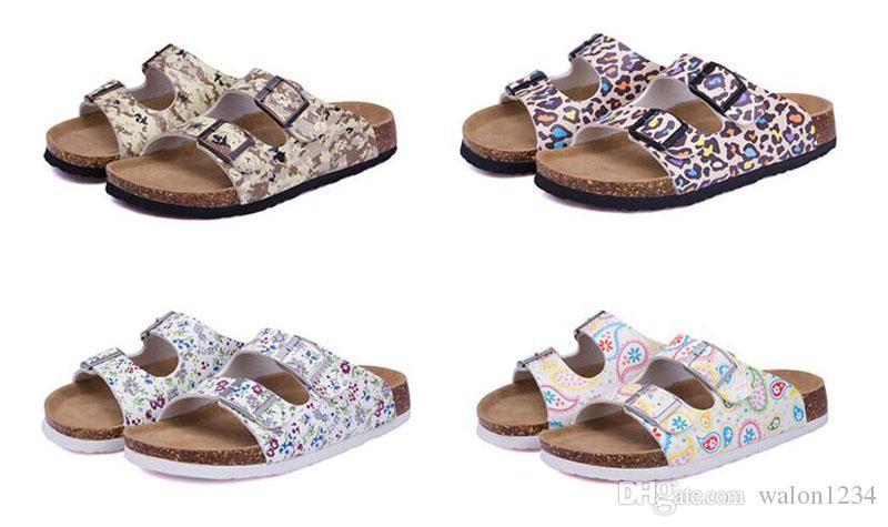 Novos Verão Praia Cortiça Chinelos Sandálias Casuais Dupla Fivela Tamancos Sandalias Mulheres Slip on Flip Flops Sapatos Flats