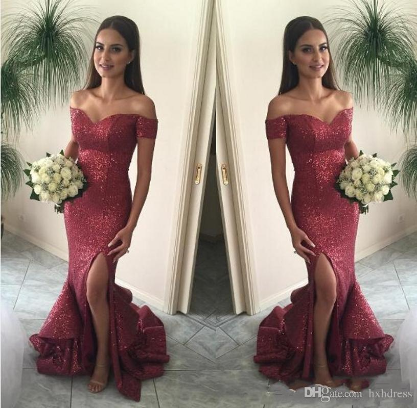 2019 New Bling Bling Sexy Off Shoulder Sequined Long Bridesmaid Dresses Evening Party Wear Formal Dresses Burgundy Mermaid Prom Dresses 136