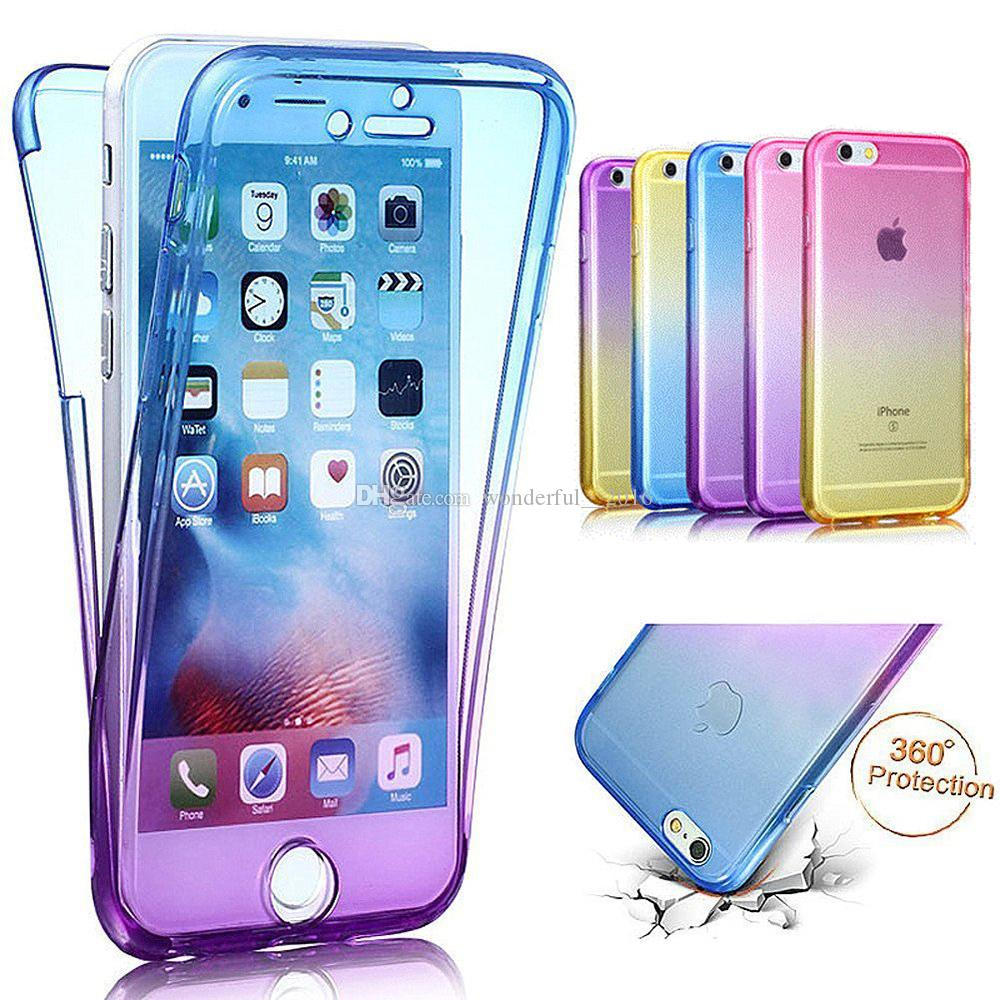 Shockproof Anti-Scratch 360 Front and Back Full Body Protection Transparent Gradient Flexible TPU Bumper Case For iPhone 5s 6 6s 7 7 Plus