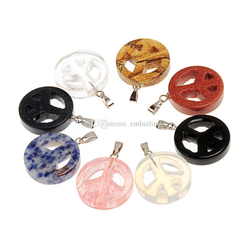 Mano martillado clásico símbolo de signo de la paz amor Hippie Onyx negro natural Jasper colgante filigrana Europea perla adapta Charm pulsera collar