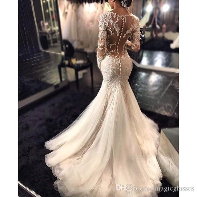 2019 New Gorgeous Lace Mermaid Wedding Dresses Dubai African Arabic Style Petite Long Sleeves Natural Slin Fishtail Bridal Gowns