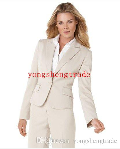 Beige Women Suit Accept Custom Made Tailored Suit Women Business Suit 366