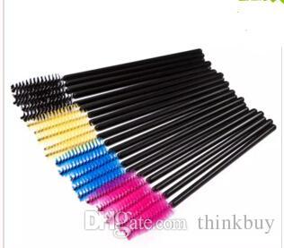 /pack One-Off Disposable Eyelash Eyelashes Brush Brushes Mascara Applicator Wand Brush black yellow blue pink rose red