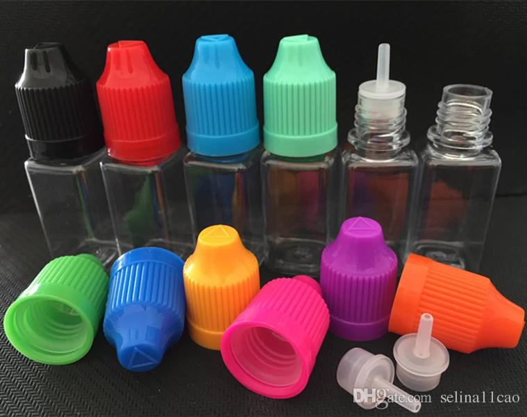 10ml 30ml botellas de ojo vacías con gotero vape para mascotas botella cuadrada de plástico unicornio transparente para líquido con colores a prueba de niños Tapa de rosca