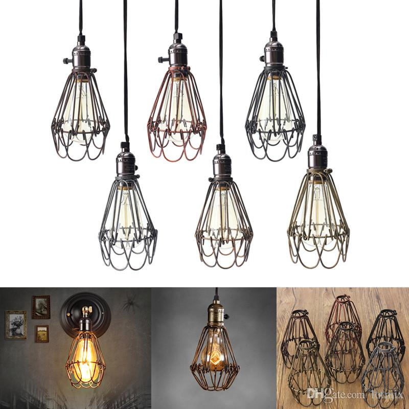 Retro Vintage Industrial Lamp Covers Ciondolo Lampadina Light Guard Cage Wire Cage Appeso Bar Cafe paralume