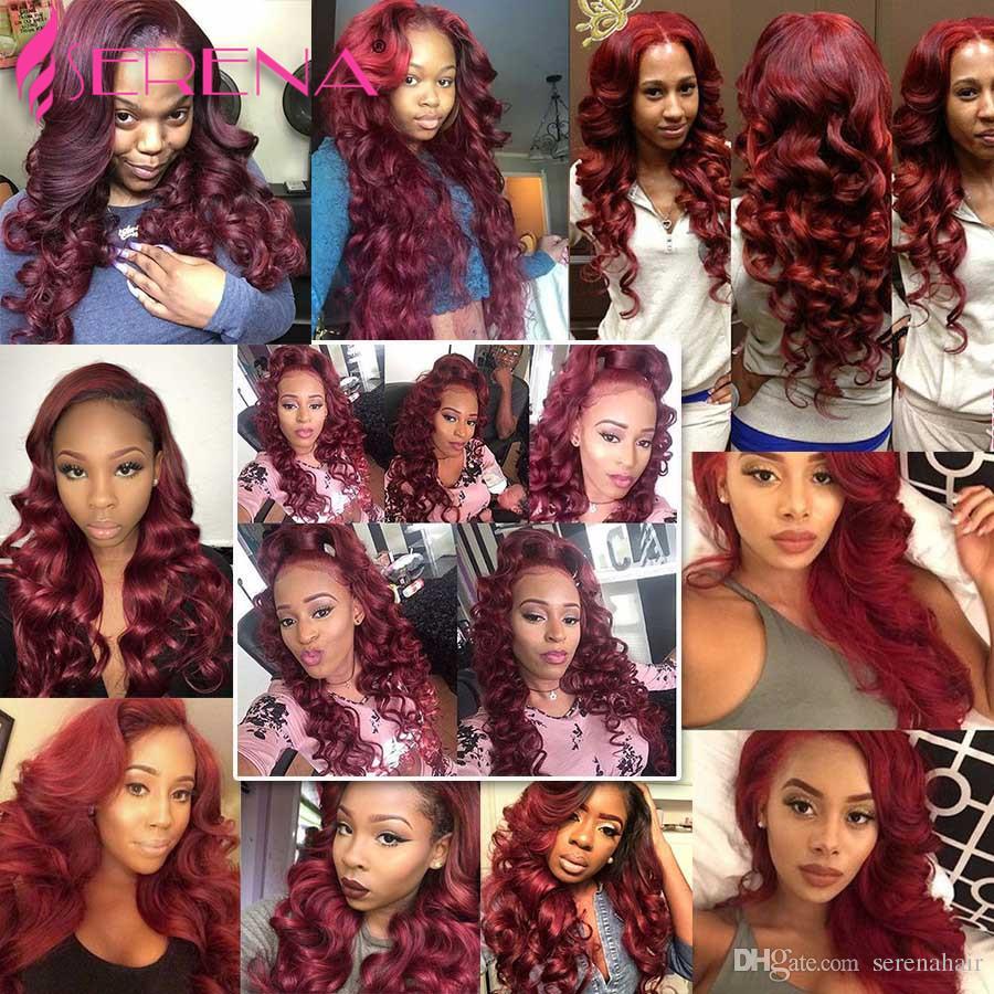 7A pelo humano brasileño de Borgoña teje onda suelta / la cabeza llena 99J Extensiones de pelos Buena calidad baratos paquetes de pelo rojo brasileño Hai