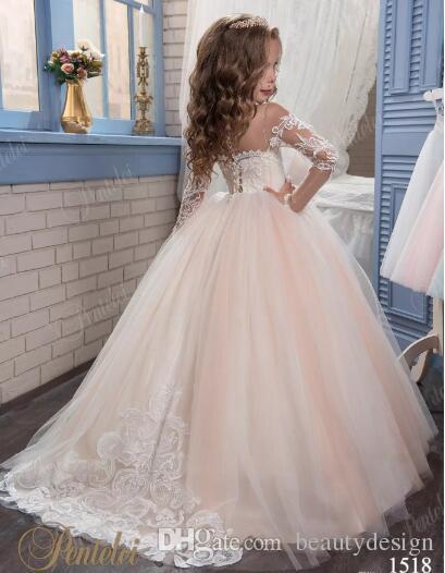 Fard à joues princesse Vintage perlé arabe 2019 robes de fille de fleur manches longues pure cou robes enfant robes Belle fille de fleur robes de mariée