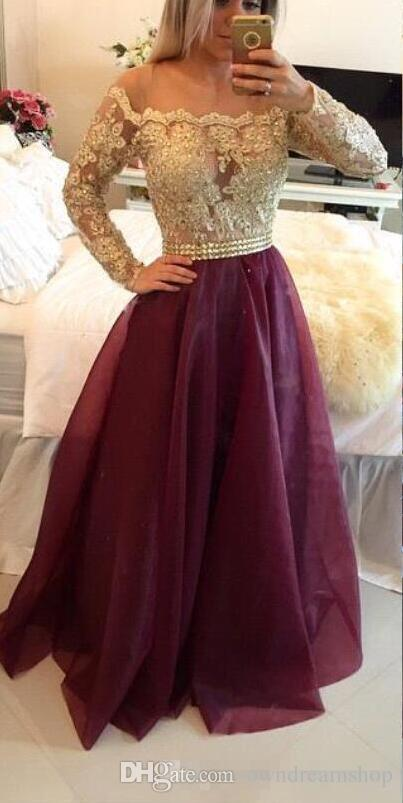 2016 New Burgundy Sheer Long Sleeves Lace Prom Dresses Applique Beaded Top Beads Sash Organza Long Evening Gowns With Buttons Formal