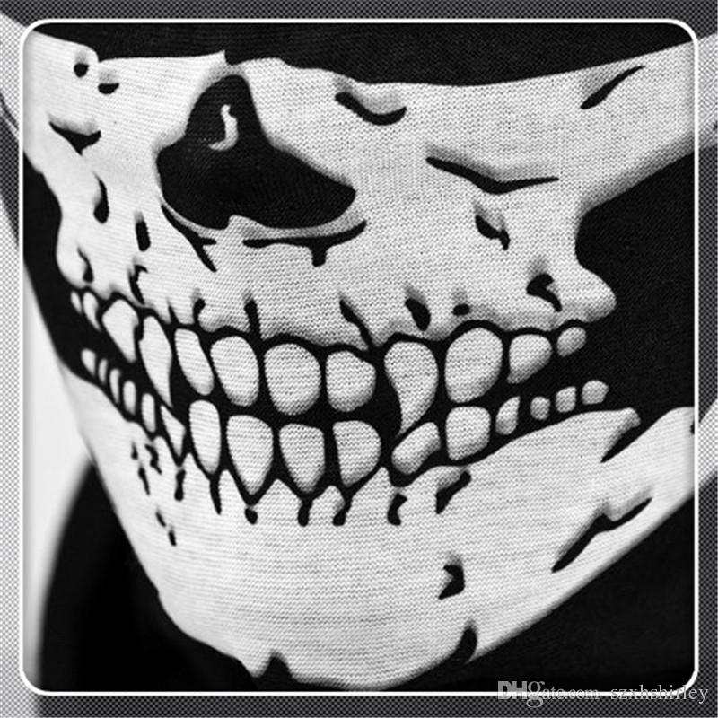 Outdoor Cycling Masks Multi Function Headwear Skull Bandana Motorcycle Helmet Neck Half Face Masks Motorcycle Bike Bicycle Black Tube Mask