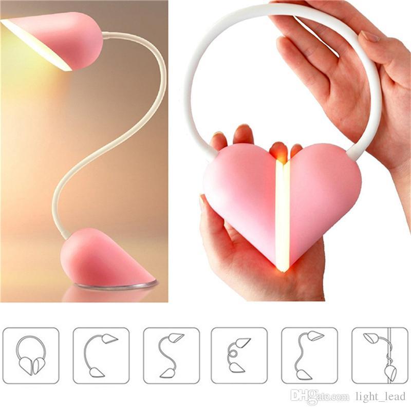 14 LED Luces Nocturna Twistable 3 Modos Interruptor Táctil Inteligente Carga USB Regulable Luz de Lectura de Bloqueo de Corazón Adorable