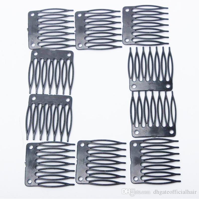 Toptan 100 adet Peruk Combs Peruk Yapımı Için Combs saç uzantıları araçları taraklar Klipler 7teeth Ile Peruk Kap