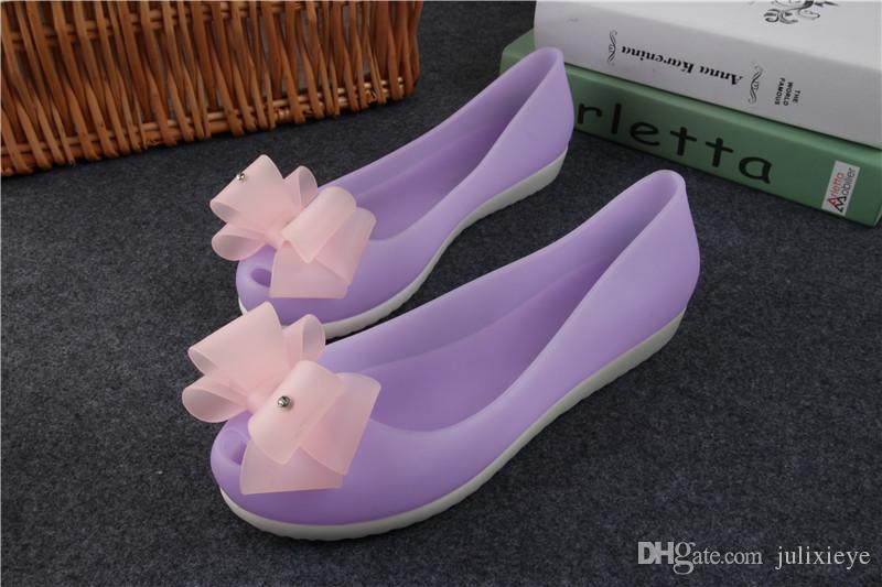 Peep-toe sandales talon plat chaussures PVC boutique de mode en gros chaussures filles chaussures 2017