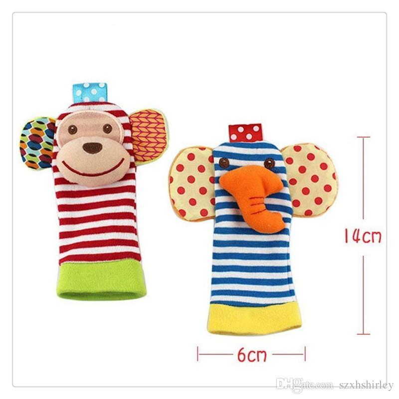 بوبي الملابس الحيوان الجوارب الطفل الدلايات المعصم القدم مكتشف الطفل اللعب الجوارب مجموعة التنموية لينة اللعب القرد و الفيل للطفل الجوارب