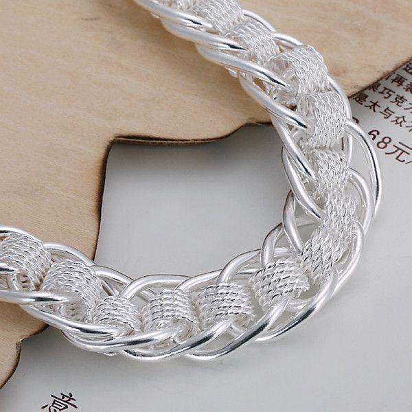 wedding New big toothbread bracelet 925 silver charm bracelet 20x1.2cm DFMWB059,High quality women's sterling silver plated jewelry bracelet